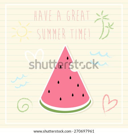 summer time greeting cards template with watermelon slice and some doodle. can be used like greeting cards or party invitations. - stock vector