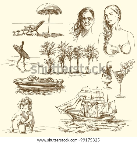 summer time - hand drawn collection - stock vector