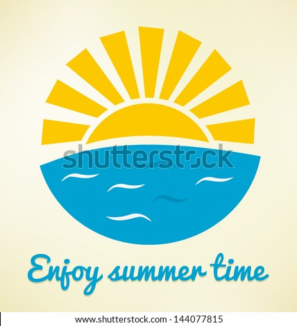 Summer time icon with sun and sea - stock vector