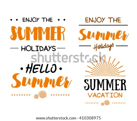 Summer Time logo Template. Vector Typographic Design Label. Summer Holidays lettering. Summer party, Enjoy The Summer, tropical paradise, sea, sunshine, weekend tour, beach vacation, adventure label - stock vector