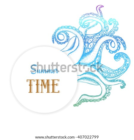 Summer time poster with octopuses tentacles in vintage style, vector - stock vector