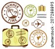 Summer time, retro grunge postal stamps, travel and vacation icons set, brown, yellow, green, orange and black isolated on white background, vector illustration. - stock