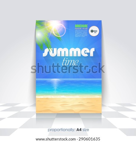 Summer Time, Summer Travel or School Camp Flyer, Brochure Design Template - stock vector
