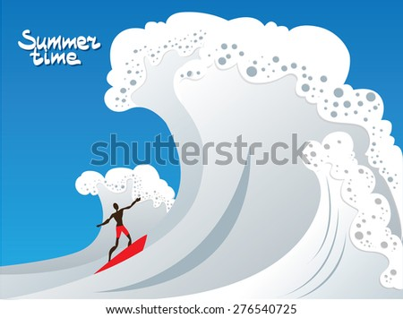 summer time Surfer on waves - stock vector