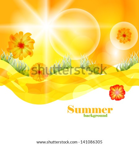 Summer Time Vector Background Template. Beautiful Nature Design Backdrop. - stock vector