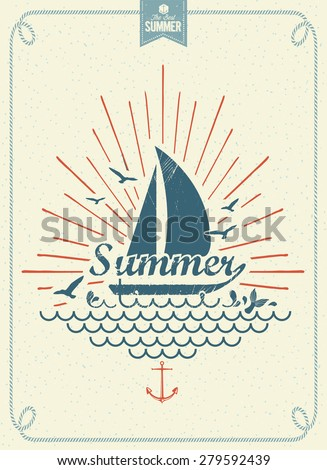 Summer Time Vintage Vector Background - stock vector