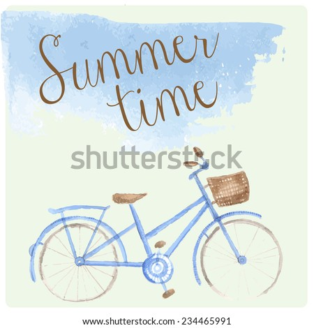 Summer time watercolor hand drawn art bicycle. Patel tender color - stock vector