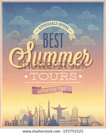 Summer tours poster. Vector illustration. - stock vector