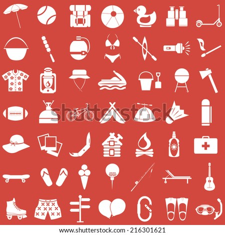 Summer, travel and camping icons set / Vector illustration - stock vector