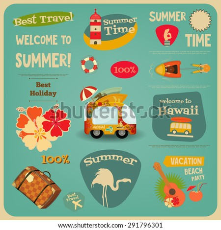 Summer Travel Card - Vacation Items in Retro Style - Flat Design Style. Best Holiday. Vector Illustrations.