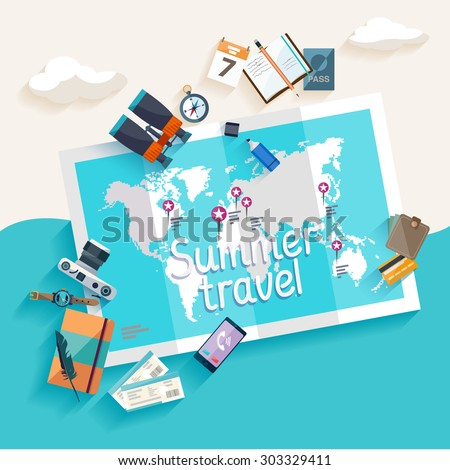 Summer travel. Flat design. - stock vector