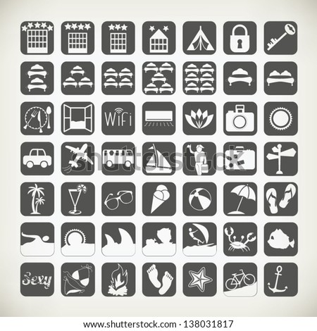 Summer Travel Icons Signs Symbols Related Stock Vector 138031817