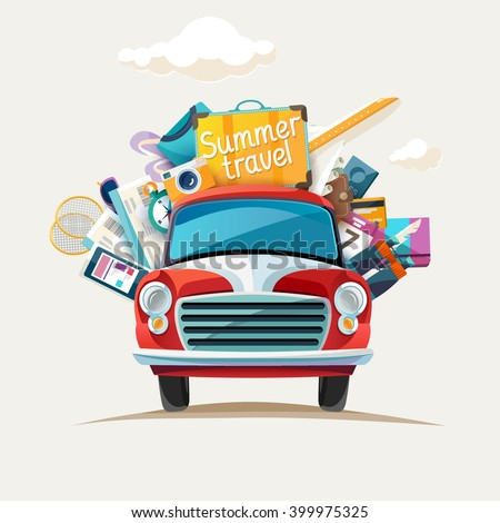 Summer travel  illustration with car. - stock vector