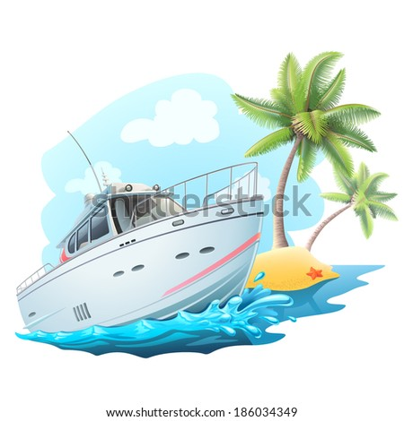 summer travel on yacht illustration - stock vector