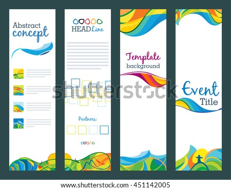 Summer travel - set of vertical banners, vector abstract template for web, print and other projects. Views of rio. Olympic concept.