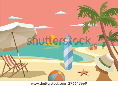 Summer travel - sunset beach scene - stock vector
