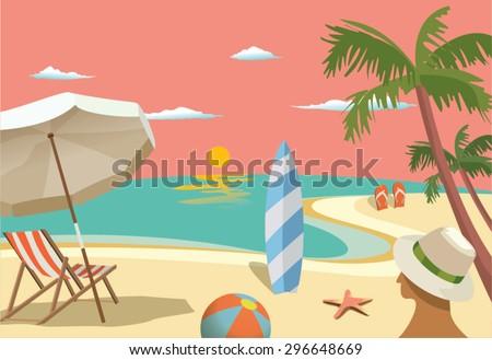 Summer travel - sunset beach scene - stock vector