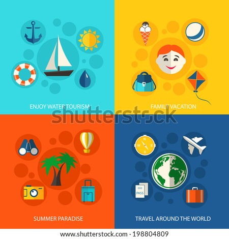 Summer travel vacation concept flat icons set of water tourism family trip tropical paradise and around the world flight for infographics design web elements vector illustration - stock vector