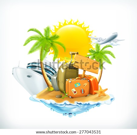 Summer travel, vector icon - stock vector