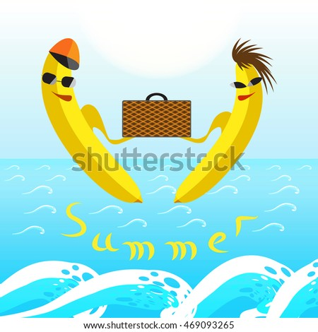 Summer traveling concept with bananas and sea