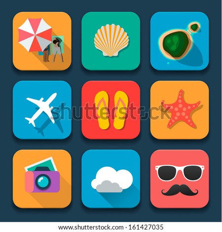Summer traveling icons set, Fat design trend, vector illustration.  - stock vector