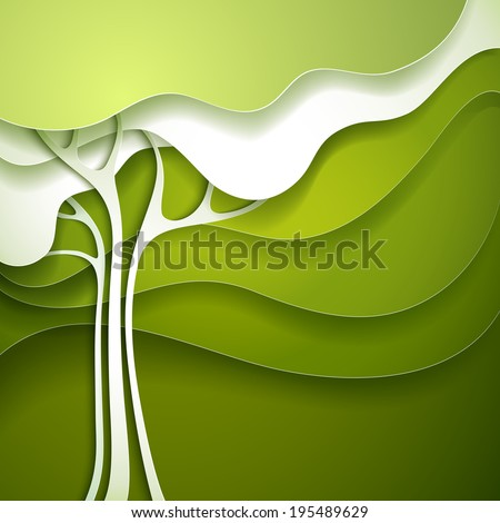 Summer tree. Abstract paper nature background. - stock vector