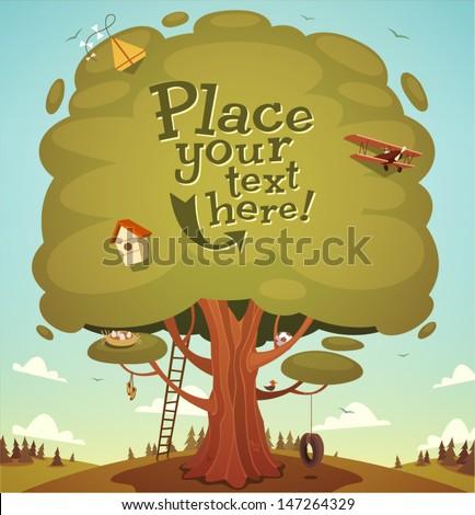 Summer tree background. Vector illustration. - stock vector