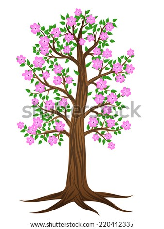Summer tree with pink flowers - perhaps cherry. - stock vector