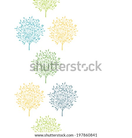 Summer trees colorful vertical seamless pattern background - stock vector
