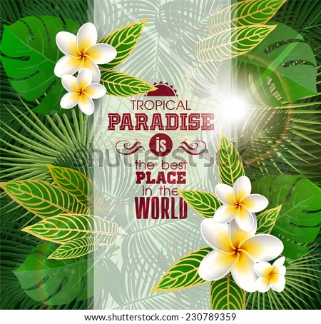 Summer Tropical Background with Leaves and flowers of Exotic Plants.  - stock vector