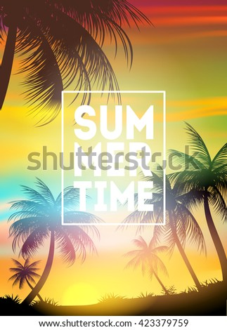 Summer tropical background with palms, sky and sunset. Summer placard, poster, flyer, invitation, card. - stock vector