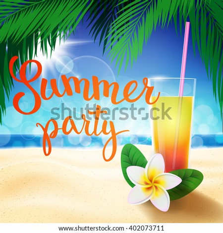 Summer tropical beach background with original hand lettering Summer Party. Illustration for logotypes, posters, greeting and invitation cards, print and web projects.