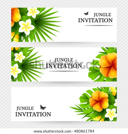 Summer tropical hawaiian background jungle palm stock vector summer tropical hawaiian background with jungle palm tree leaves exotic flowers and yellow butterflies stopboris Gallery
