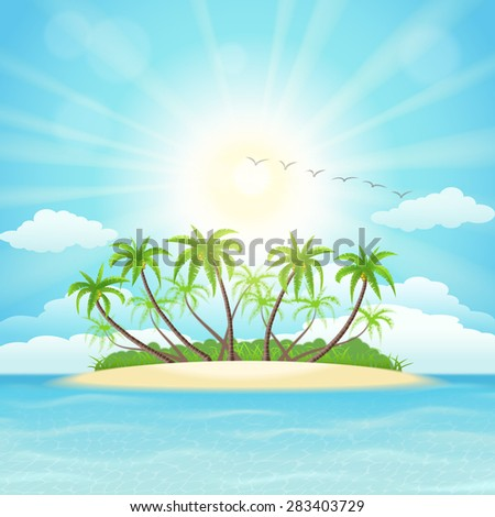 Summer tropical island with palms, sky and sun - stock vector