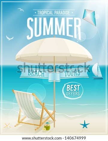 Summer tropical poster. Vector background. - stock vector