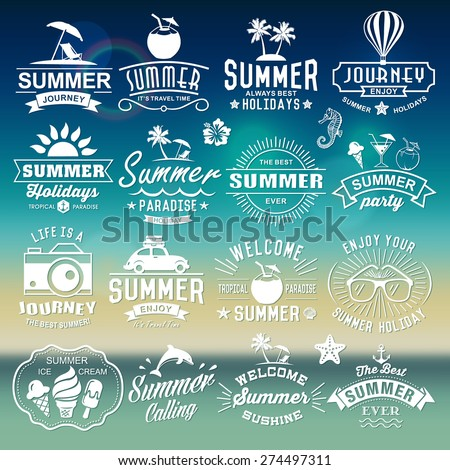 Summer typography designs. Summer logotypes set. Vintage design elements, logos, labels, icons, objects and calligraphic designs. Summer holidays.