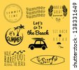 summer typography sticker set - stock vector