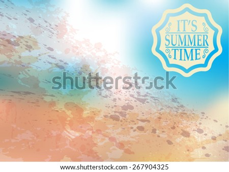Summer Typography Sticker, Tag , Banner or Tag on Green Background . Vector Illustration .  - stock vector