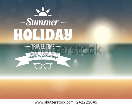Summer typography vector design with beach sunset seaside - stock vector