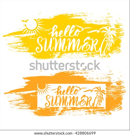 Summer vacation and travel designs with various text, hot tropical sun and sea for advertising and marketing, vector illustration - stock vector