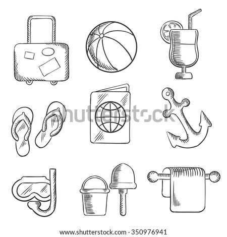Summer vacation and travel sketched icons depicting luggage,beach ball, cocktail drink, thongs, ticket, passport, anchor, snorkeling, bucket and spade. Sketch style - stock vector