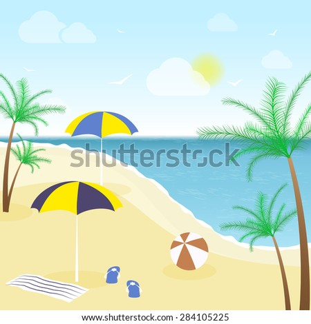 Summer vacation at the beach with sea views/vector illustration - stock vector