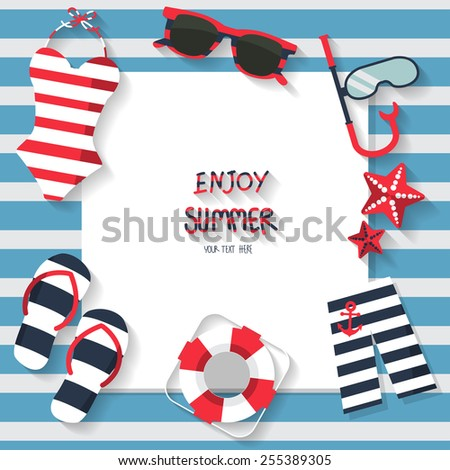 summer vacation background, sailor concept, text can be add for advertising, wallpaper, greeting card - stock vector