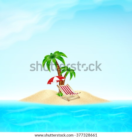 Summer vacation background. Tropical sea and beach with umbrella,deck chair and palm tree. EPS10