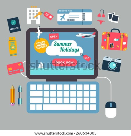 Summer vacation booking online concept with flat icons - stock vector