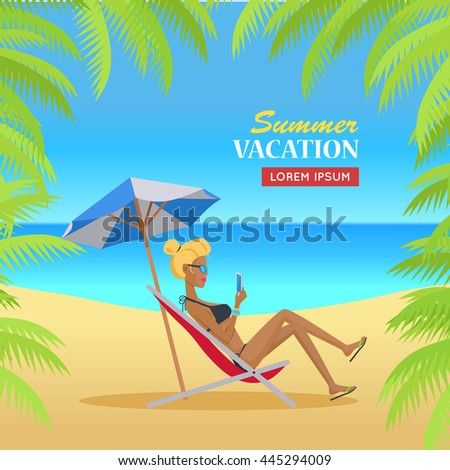 Summer vacation concept banner. Flat design vector illustration. Leisure on tropical sunny beach with palm trees. Ocean horizon background. Woman relaxing in the shade under umbrella. Online on trip.