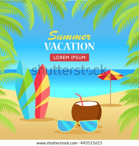 Summer vacation concept banner. Leisure on tropical sunny beach with palm trees. Surfboards, sunglasses, coconut, umbrella flat vector illustration. Ocean horizon background. Frame from palm branches. - stock vector