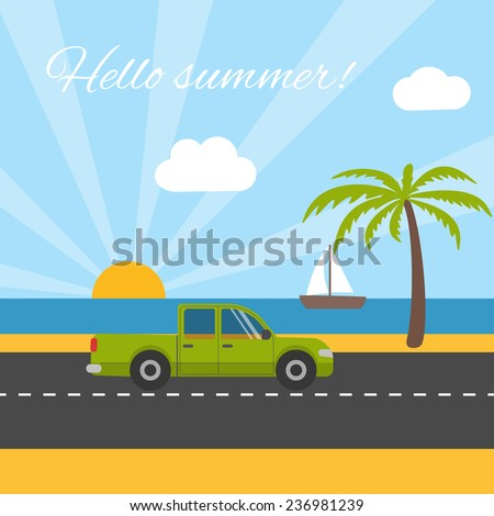 Summer vacation concept card with car on the seaside - stock vector