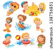 Summer vacation. Cute little girl in a bathing suit sunning on the beach under an umbrella. Swim in the sea. Funny boy in mask, flippers, swimming cap, Lifebuoy. Building a sand castle. Hawaiian dance - stock photo
