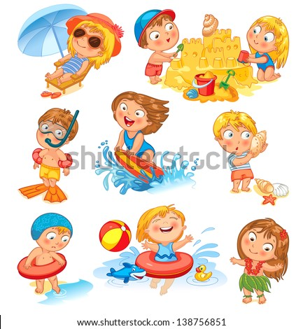 Summer vacation. Cute little girl in a bathing suit sunning on the beach under an umbrella. Swim in the sea. Funny boy in mask, flippers, swimming cap, Lifebuoy. Building a sand castle. Hawaiian dance - stock vector